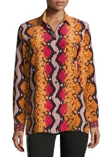 Etro Snakeskin-Print Silk Blouse