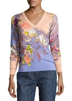 Etro Stampa Paisley V-Neck Sweater