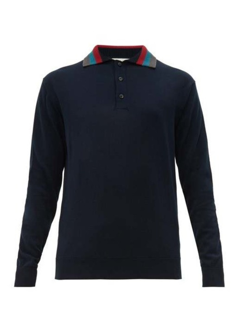 Etro Striped-collar knitted polo shirt