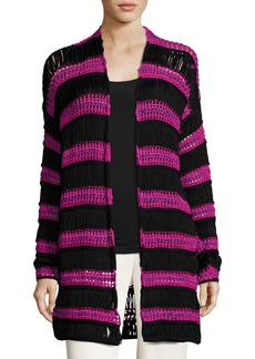Etro Striped Net Knit Cardigan