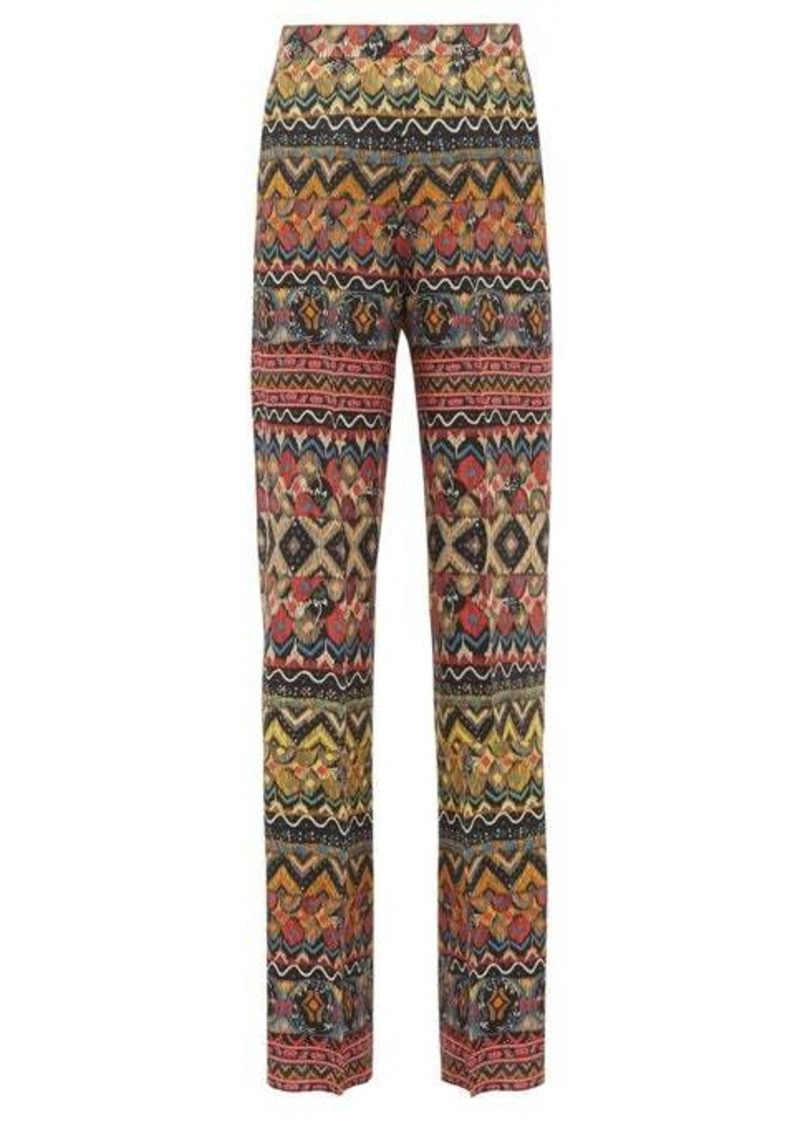 Etro Striped wool-blend wide-leg trousers