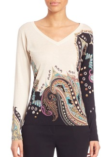Etro Studded Silk & Cashmere V-Neck