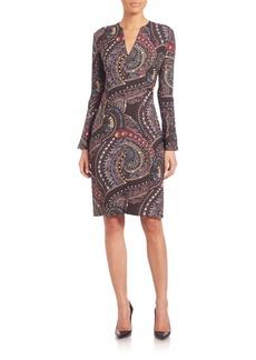 Etro Studded V-Neck Bell Sleeve Dress