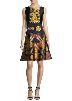 Etro Suzani-Print Silk Faille Fit & Flare Dress