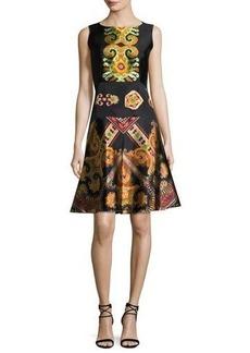 Etro Suzani-Print Silk Faille Fit & Flare Dress