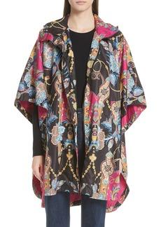 Etro Tassel Print Hooded Poncho Jacket