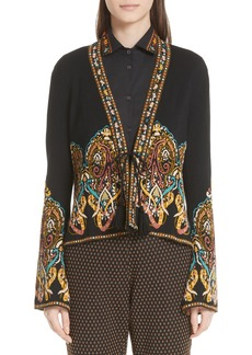 Etro Tie Front Paisley Jacquard Knit Jacket