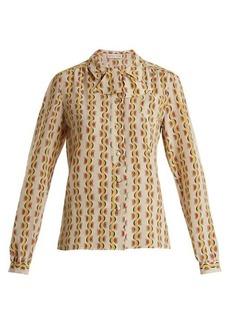 Etro Tie-neck crescent-print silk shirt