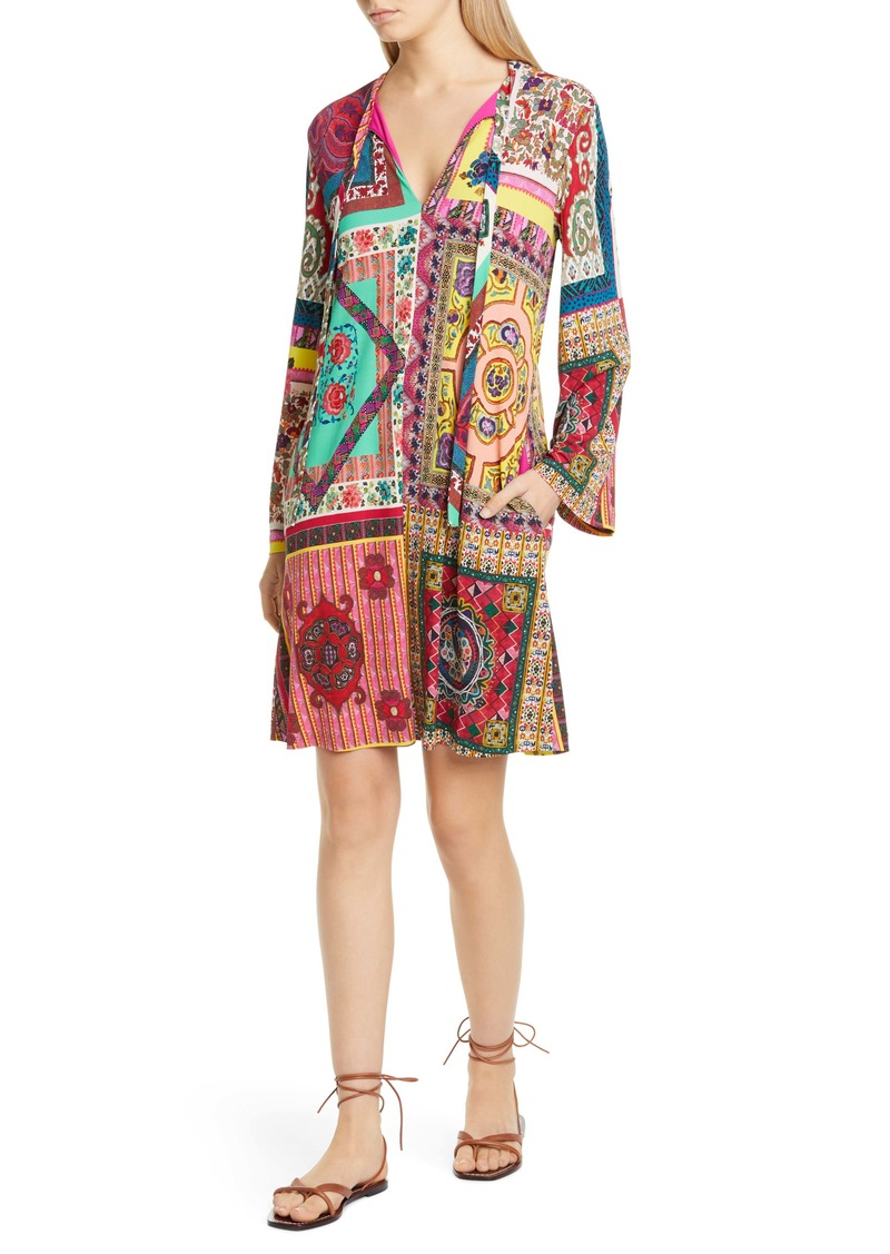 Etro Tie Neck Long Sleeve Jersey Shift Dress