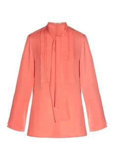 Etro Tie-neck ruffled-front silk-crepe blouse