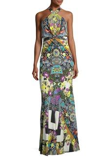 Etro Tie-Waist Paisley Halter Gown