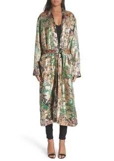 Etro Tie Waist Silk Blend Metallic Jacquard Jacket