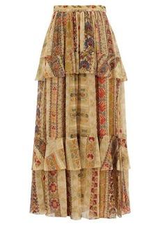 Etro Tiered paisley-print silk-chiffon maxi skirt