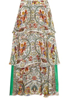 Tiered printed silk-jacquard maxi skirt