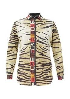 Etro Tiger-print satin shirt