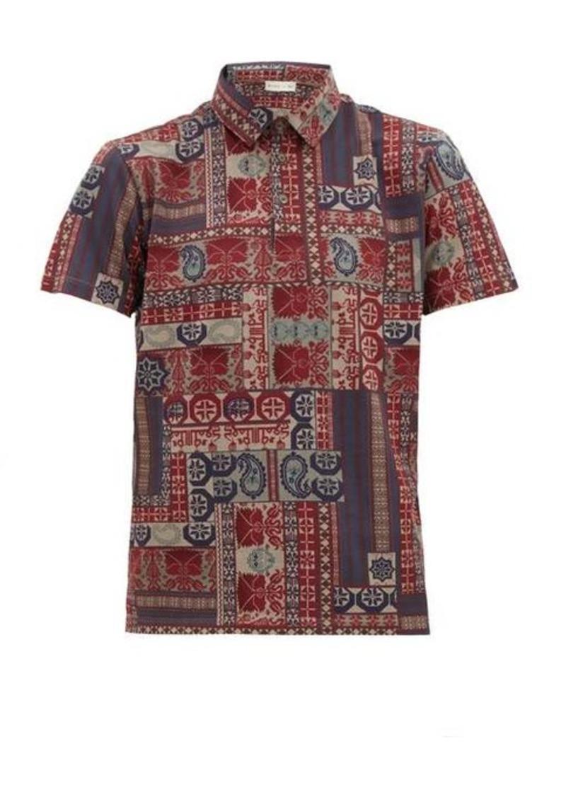 Etro Tile-print cotton-piqué polo shirt