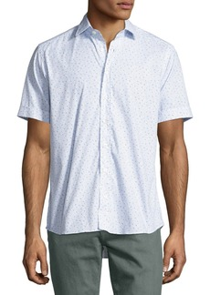 Etro Topography-Print Short-Sleeve Cotton Shirt