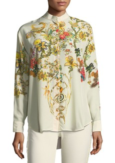 Etro Tree of Life Silk Long-Sleeve Blouse