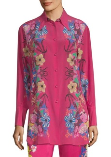 Tropical Floral-Print Silk Shirt