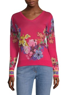 Etro Tropical Floral-Print Sweater