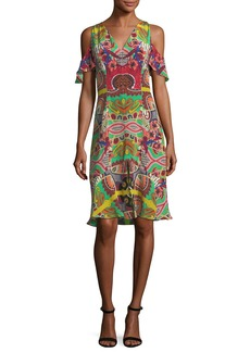 Etro Tropical Paisley Cold-Shoulder Dress