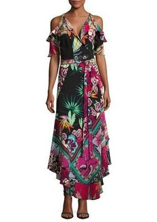 Etro Tropical-Print Cold-Shoulder Wrap Dress