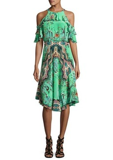 Etro Tropical-Print Ruffled Cold-Shoulder Dress