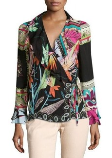 Etro Tropical-Print Ruffled Wrap Top