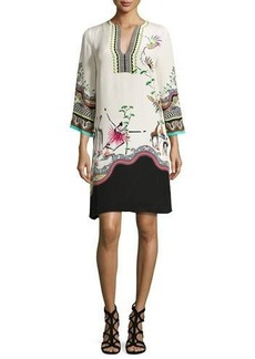 Etro Tropical-Print Split-Neck Tunic Dress