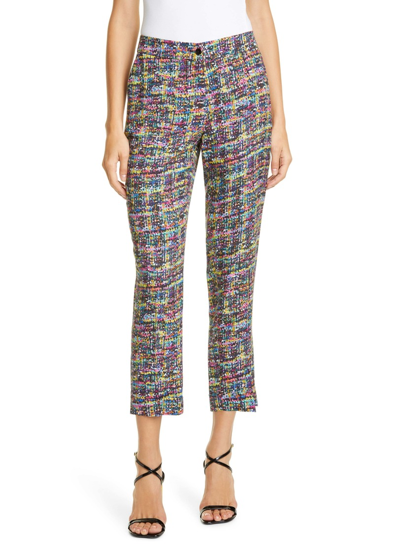 Etro Tweed Print Cady Cuff Crop Pants