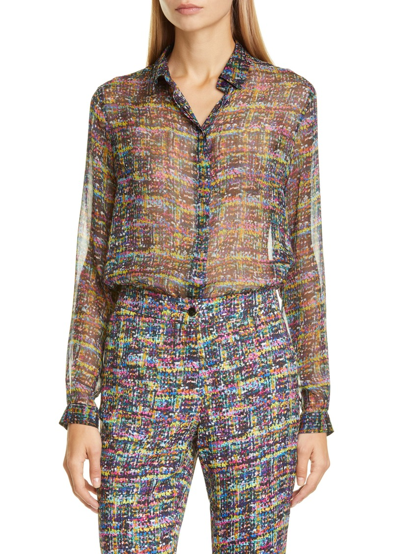 Etro Tweed Print Silk Tunic Blouse