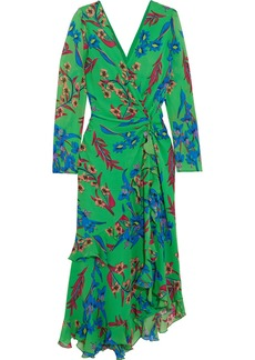 Etro Twist-back ruffled asymmetric floral-print silk-crepon midi dress