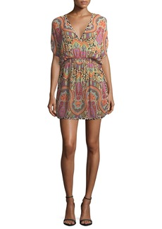 Etro V-Neck Blouson Printed Coverup Mini Dress