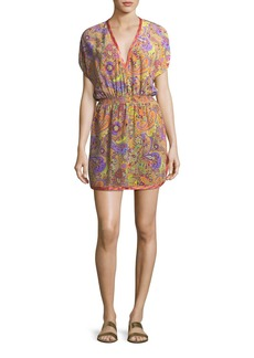 Etro V-Neck Blouson Printed Silk Coverup Mini Dress