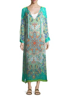 Etro V-Neck Long Printed Caftan Coverup w/ Ribbon