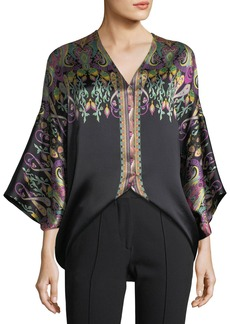 Etro V-Neck Long-Sleeve Floral Paisley-Print Silk Satin Top
