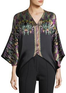 Etro V-Neck Long-Sleeve Floral Paisley-Print Silk Satin Top