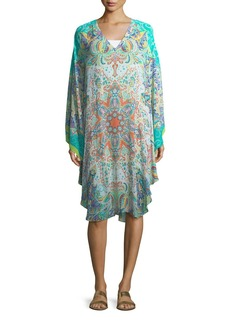 Etro V-Neck Long-Sleeve Printed Caftan Coverup
