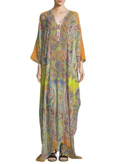 Etro V-Neck Long-Sleeve Printed Long Silk Kaftan Coverup
