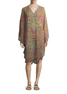 Etro V-Neck Long-Sleeve Printed Silk Caftan Coverup