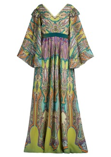 Etro V-neck paisley-print silk-crepe gown