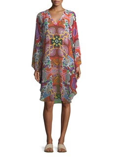 Etro V-Neck Printed Silk Coverup Poncho Dress