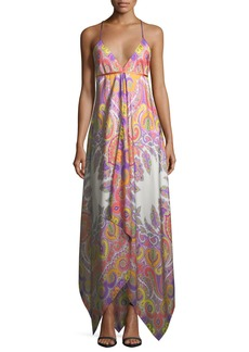 Etro V-Neck Sleeveless Paisley Printed Maxi Dress with Ribbon Ties