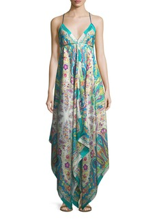 Etro V-Neck Sleeveless Printed Maxi Dress with Ribbon Ties