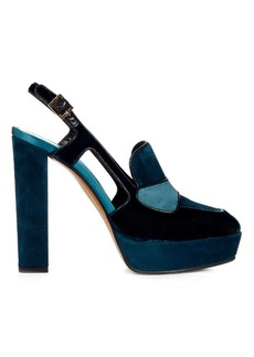 Etro Velvet and suede platform pumps
