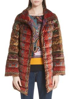 Etro Velvet Jacquard Puffer Coat