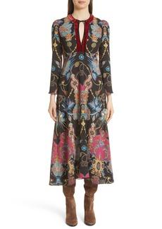 Etro Velvet Trim Tassel & Paisley Print Dress
