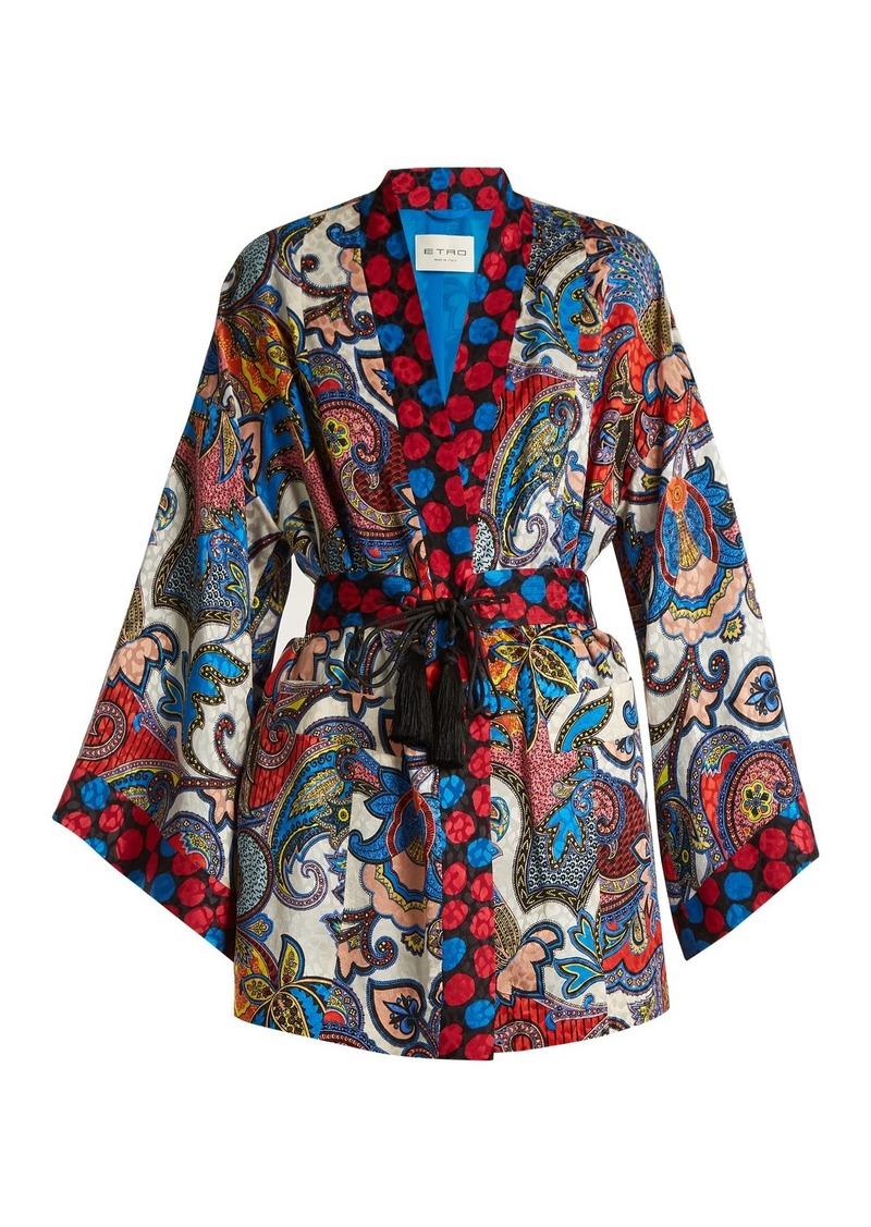 Etro Paisley-jacquard silk kimono-style jacket
