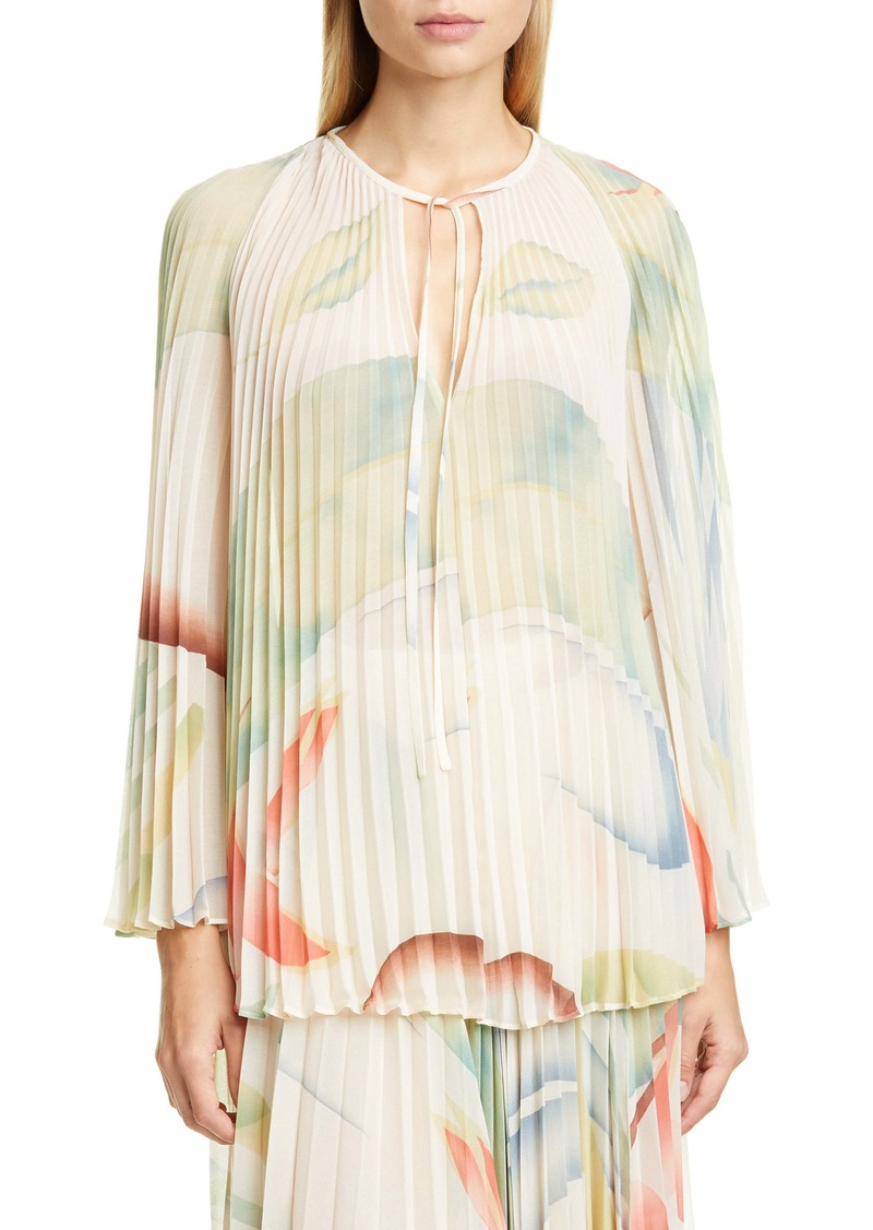 Etro Watercolor Leaf Print Pleated Blouse