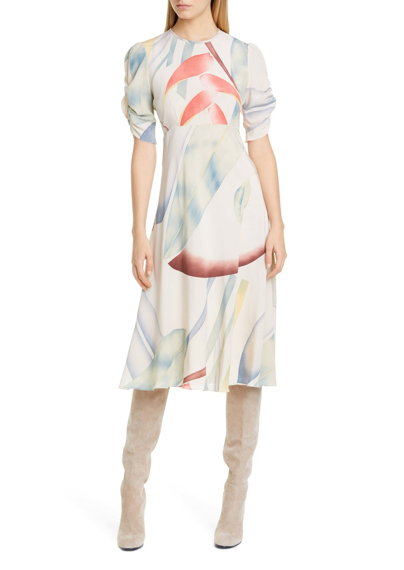 Etro Watercolor Leaf Print Silk Midi Dress